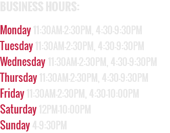 BUSINESS HOURS: